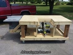 Woodworking Workbenches Mobile Workbench, Table Saw and Miter Saw is moveable. *by Eric Woodworking Bench, Woodworking Crafts, Woodworking Projects, Welding Projects, Table Saw Workbench, Workbench Plans, Miter Saw Table, Garage Workbench, Mitre Saw Bench
