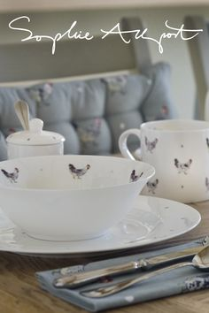 Love this designer. 'Chicken', the best selling collection of fine bone china and textiles for the home by Sophie Allport.