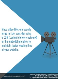 Since video files are usually large in size, consider using a CDN (content delivery network) or the embedding option to maintain faster loading time of your website. For more video marketing tips & techniques, read our blog: [Click on the image] #omagency #video #marketing