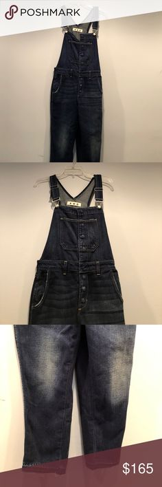 AMO 'Babe' Overalls NWT If only I️ were shorter, these babies would be my favorite! Chic, dark denim with perfect aging as is typical of AMO denim. High waisted, snap button front with classic, adjustable overall straps. NWT. Incredibly high quality, primo denim. Sold out online. Runs small. Best suited for a 25/26 unless you want a more fitted look AMO Jeans Overalls