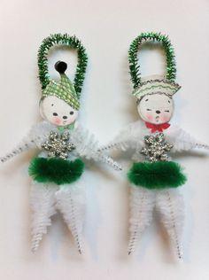 SNOWMAN snowwoman w/green CHRISTMAS vintage style chenille ORNAMENTS set of 2 by StanleyAndStewart on Etsy https://www.etsy.com/listing/94362983/snowman-snowwoman-wgreen-christmas