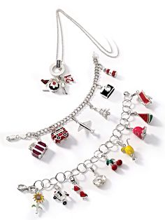 Sterling Silver 3-D Enameled Drum Set W//Lobster Clasp Charm