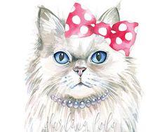 Cat Watercolor Print Cowboy Cat Bandit Cat Cat Art
