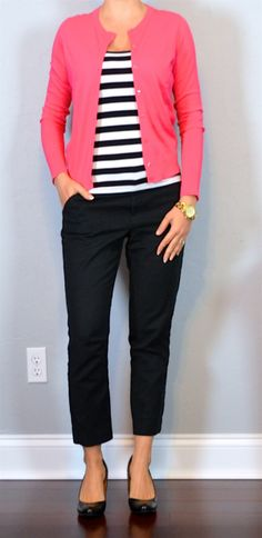 outfit post: black and white striped tank, pink cardigan, black cropped pant, black wedges
