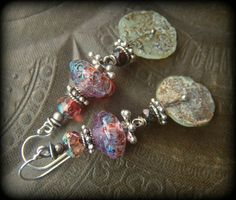 Ancient Roman Glass, Lampwork Glass, Czech Glass, Earthy, Ethereal, Primitive, Organic, Rustic, Silver, Beaded Earrings by YuccaBloom on Etsy