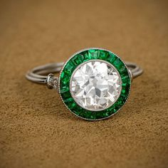 GryphonNest/post Art Deco Diamond and Emerald Ring
