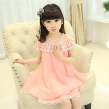 2016 Novo Traje de Noite das Meninas Vestido de Princesa Crianças Roupas de Verão Crianças Chiffon Rendas Vestidos Da Menina Do Bebê Vestido de Festa Pérola(China (Mainland))