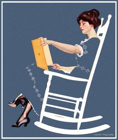 "Woman reading in rocking chair. Good Housekeeping, July Cover art by Clarence Coles Phillips ""Then Faversham rose suddenly. He stooped over her. She heard his voice, hoarse and. Reading Art, Woman Reading, Vintage Magazines, Vintage Ads, Poster Vintage, Vintage Paper, People Reading, The Face, Collage Art Mixed Media"