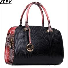 ICEV 17 New Luxury Handbag Designer High Quality Women's Leather Handbag Serpentine Boston Bags Messenger Carteras Mujer Marca