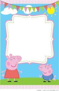 Convite Peppa Pig Grátis! Prontos para editar e imprimir no www.fazendo-festa.net: