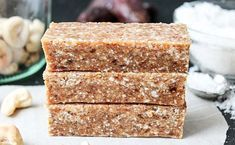 These Toasted Cashew Coconut Bars are sweetened with dates and are free of any processed sugar, but trust me you won't miss any of that toothsome taste. Raw Vegan Desserts, Raw Vegan Recipes, Vegan Gluten Free, Whole30 Recipes, Healthy Recipes, Whole Food Recipes, Cookie Recipes, Healthy Protein Snacks, Healthy Eating