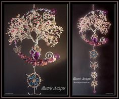 Wire tree with swarovski crystal, gemstones en czech glass made by illustris designs