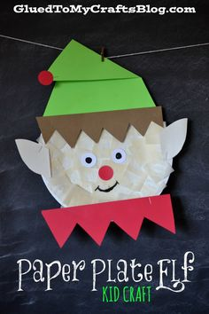 Paper Plate Elf Craft for Kids from Glued to My Crafts. Darling Christmas Craft!