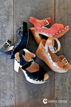 Stud detailing, metal buckles, and sturdy, thick heels give these CC Corso Como sandals a rock 'n roll vibe.  Perfect for festivals or street fairs, styles Nola and Deli will be your new summer favorites.