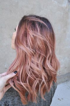Hair color blonde and rose gold highlights