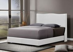 Baxton Studio Duncombe White Modern Bed with Upholstered Headboard - Queen Size - White-Platform Beds-HipBeds.com