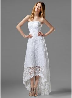 A-Line/Princess Strapless Asymmetrical Satin Lace Wedding Dress With Beading