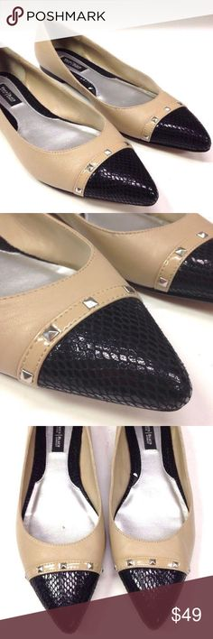 NUDE STUDDED LEATHER SNAKESKIN POINTY FLATS shoes NICE PAIR OF WHITE HOUSE BLACK MARKET POINTY STUDDED FLATS NUDE COLOR WITH BLACK SNAKESKIN TOES  WOMEN SIZE 8 M  EXCELLENT CONDITION. LIGHT WEAR. NICE & CLEAN White House Black Market Shoes Flats & Loafers