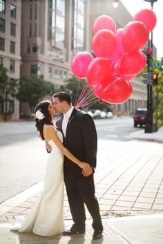 Bride with red balloons, Hotel Monaco, F Street NW, Washington, DC #9172011