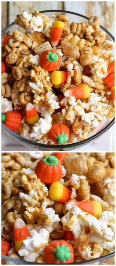 Fun pumpkin snack mix to server while the kiddos carve their pumpkins. Yum!