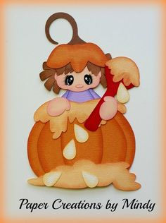 Craftecafe Mindy fall pumpkin girl boy premade paper piecing scrapbook page