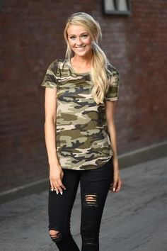 This adorable camo top is slightly sheer, but super cute! True to size. Model is a size 0 wearing a small. Material: Rayon Product Sizing Chart Size Bust Hip Length Waist Small 34 N/A 26 N/ Camo Fashion, Fashion Outfits, Women's Fashion, Family Outfits, Cute Outfits, Camo Shirt Outfit, Camo Top, Camo Shirts, Hunting Clothes