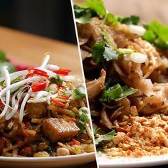 Pad thai 5 ways Thai Recipes, Asian Recipes, Healthy Recipes, Prawns Fry, Food Network Recipes, Cooking Recipes, Vegan Pad Thai, Yummy Food, Tasty