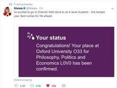 Recollemos esta imaxe do Twittter de Malala Yousafzai, ´simbolo da loita pola igualdade na educación das nenas do seu país e de todo o mundo, moi emocionada ante o seu primeiro trimestre en Oxford o vindeiro outono. Malala Yousafzai, Economics, Philosophy, Oxford, Congratulations, University, Politics, Student, Life