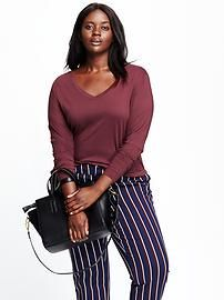 Relaxed V-Neck Plus- Size Tee