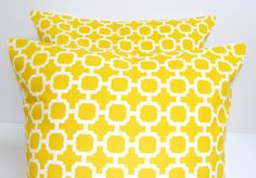 Yellow Pillow.SET OF TWO.18x18 inch.Decorator by ElemenOPillows, $33.00