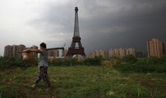 A replica of the Eiffel Tower at the luxurious, but largely abandoned, Tianducheng development in Hangzhou, Zhejiang Province