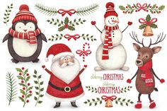 Cute Christmas illustrations pack by Alexandra on @creativemarket