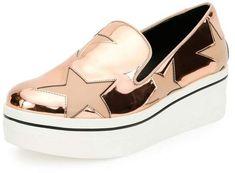 Stella McCartney Stella McCartney Binx Metallic Star SlipOn Sneaker, Copper Tea Rose