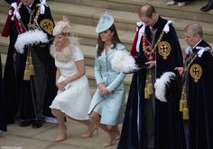Earl and Countess of Wessex, Duke and Duchess of Cambridge and Duke of York pay homage to Queen Elizabeth as she passes