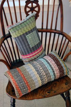 Avalanche Looms- I'm in love with these pillows, I suspect they are made from many narrow woven bands but am not entirely sure.
