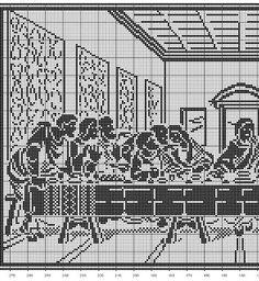 Last Supper (side Cross stitch or filet crochet. Crochet Dollies, Crochet Angels, Crochet Cross, Knit Or Crochet, Filet Crochet Charts, Cross Stitch Charts, Cross Stitch Designs, Cross Stitch Patterns, Cross Stitching