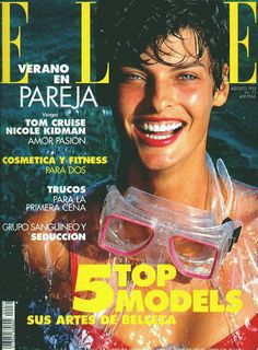 Cover with Linda Evangelista August 1992 of ES based magazine Elle Spain from Hachette Filipacchi Media including details. Fashion Magazine Cover, Fashion Cover, Magazine Covers, Linda Evangelista, Tom Cruise, Top Models, Nicole Kidman, Fashion Images, Fashion Pictures