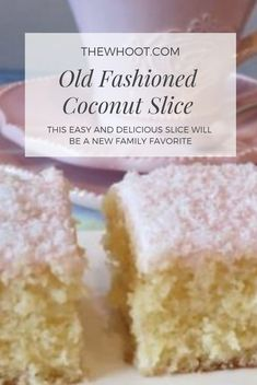 Coconut Slice Recipe Easy Delicious Old Fashioned Favorite Coconut Slice Recipe Easy Delicious Old Fashioned Favorite,Cakes Everyone is loving this Coconut Slice Recipe and you will too. It's another old fashioned fave that will. Tray Bake Recipes, Baking Recipes, Dessert Recipes, Fruit Recipes, Lemon And Coconut Cake, Coconut Cakes, Lemon Cakes, Coconut Cake Easy, Coconut Sponge Cake
