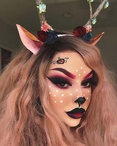 Are you looking for ideas for your Halloween make-up? Browse around this site for cool Halloween makeup looks. Deer Halloween Makeup, Masque Halloween, Deer Makeup, Halloween Makeup Looks, Makeup Art, Makeup Tips, Makeup Ideas, Makeup Goals, Ghost Makeup