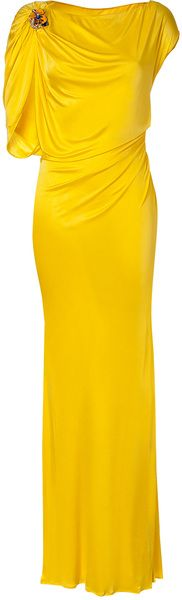 ROBERTO CAVALLI Sunshine Draped Jersey Gown - Lyst. Okay, the color is wayyyy to bright for me, but I like the lines.