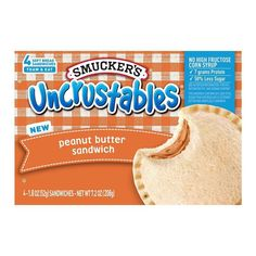 butter and jelly are the perfect pairing of sandwich spreads to many. But if prefer no jelly on your PB&J, you'll want to pick up Smucker's new Peanut Butter Uncrustables. Smuckers Uncrustables, Gourmet Recipes, Snack Recipes, Artichoke Salad, Homemade Sandwich, Junk Food Snacks, Peanut Butter Sandwich, Creamy Peanut Butter, Roadtrip