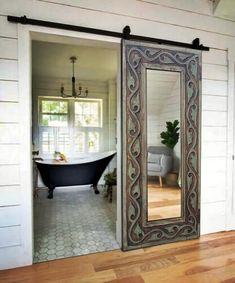 Spanish Bedroom, Spanish Style Bathrooms, Spanish Bungalow, Rustic Mirrors, Living Room Mirrors, Wood Wall Decor, Mirror Door, Sliding Doors, Barn Doors