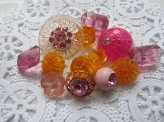 Vintage Buttons    Cottage chic orange and pink by pillowtalkswf, $12.95