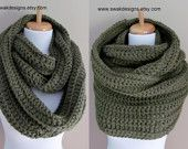 Oversized Wool Eternity Scarf - Unisex Hooded Scarf - 24 hour Oversized Cowl - Olive Sage Green or CHOOSE Your Color