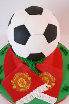 Soccer Ball Cake with School Scarf and Logo