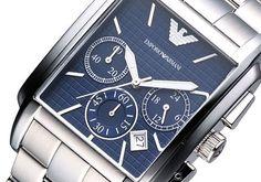 Montre ARMANI homme, boîtier et bracelet acier, cadran bleu nuit fonction date, style luxe et fashion.