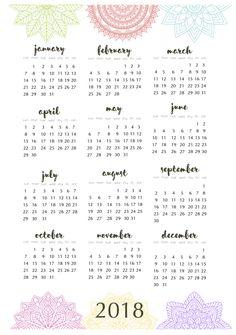 year at a glance calendar 2018 printable
