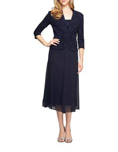 Elegant chiffon dress topped with a matching jacket. Acetate/polyester. Hand wash. Imported.