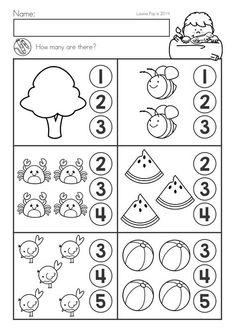 Summer Review Kindergarten Math & Literacy Worksheets & Activities. How many?