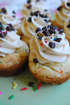 funfetti cookie cups with cookie dough frosting